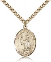 "Gold Filled St. Vincent Ferrer Pendant, Stainless Gold Heavy Curb Chain, Large Size Catholic Medal, 1"" x 3/4"""