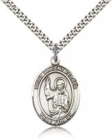 "Sterling Silver St. Vincent Ferrer Pendant, Stainless Silver Heavy Curb Chain, Large Size Catholic Medal, 1"" x 3/4"""