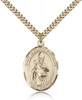 "Gold Filled St. Augustine of Hippo Pendant, Stainless Gold Heavy Curb Chain, Large Size Catholic Medal, 1"" x 3/4"""