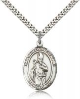 "Sterling Silver St. Augustine of Hippo Pendant, Stainless Silver Heavy Curb Chain, Large Size Catholic Medal, 1"" x 3/4"""