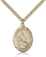 "Gold Filled St. Madonna Del Ghisallo Pendant, Stainless Gold Heavy Curb Chain, Large Size Catholic Medal, 1"" x 3/4"""