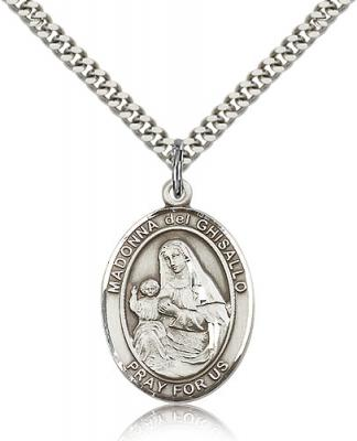 "Sterling Silver St. Madonna Del Ghisallo Pendant, Stainless Silver Heavy Curb Chain, Large Size Catholic Medal, 1"" x 3/4"""