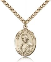 "Gold Filled St. John Neumann Pendant, Stainless Gold Heavy Curb Chain, Large Size Catholic Medal, 1"" x 3/4"""