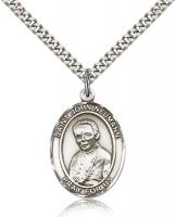 "Sterling Silver St. John Neumann Pendant, Stainless Silver Heavy Curb Chain, Large Size Catholic Medal, 1"" x 3/4"""