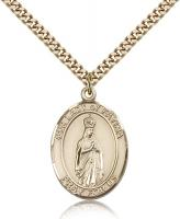 "Gold Filled Our Lady of Fatima Pendant, Stainless Gold Heavy Curb Chain, Large Size Catholic Medal, 1"" x 3/4"""