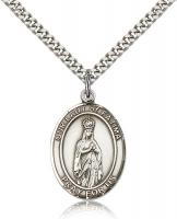 "Sterling Silver Our Lady of Fatima Pendant, Stainless Silver Heavy Curb Chain, Large Size Catholic Medal, 1"" x 3/4"""