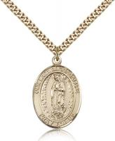 "Gold Filled Our Lady of Guadalupe Pendant, Stainless Gold Heavy Curb Chain, Large Size Catholic Medal, 1"" x 3/4"""