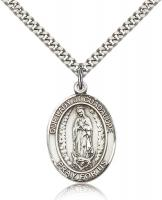 "Sterling Silver Our Lady of Guadalupe Pendant, Stainless Silver Heavy Curb Chain, Large Size Catholic Medal, 1"" x 3/4"""