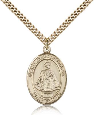 "Gold Filled Infant of Prague Pendant, Stainless Gold Heavy Curb Chain, Large Size Catholic Medal, 1"" x 3/4"""