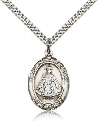 "Sterling Silver Infant of Prague Pendant, Stainless Silver Heavy Curb Chain, Large Size Catholic Medal, 1"" x 3/4"""