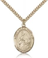 "Gold Filled St. Maria Goretti Pendant, Stainless Gold Heavy Curb Chain, Large Size Catholic Medal, 1"" x 3/4"""