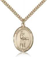 "Gold Filled St. Petronille Pendant, Stainless Gold Heavy Curb Chain, Large Size Catholic Medal, 1"" x 3/4"""
