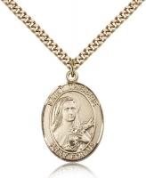 "Gold Filled St. Therese of Lisieux Pendant, Stainless Gold Heavy Curb Chain, Large Size Catholic Medal, 1"" x 3/4"""