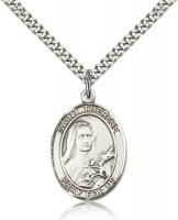 "Sterling Silver St. Therese of Lisieux Pendant, Stainless Silver Heavy Curb Chain, Large Size Catholic Medal, 1"" x 3/4"""