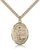 "Gold Filled St. Germaine Cousin Pendant, Stainless Gold Heavy Curb Chain, Large Size Catholic Medal, 1"" x 3/4"""