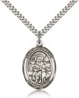 "Sterling Silver St. Germaine Cousin Pendant, Stainless Silver Heavy Curb Chain, Large Size Catholic Medal, 1"" x 3/4"""