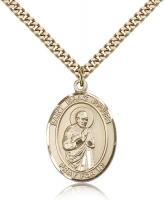 "Gold Filled St. Isaac Jogues Pendant, Stainless Gold Heavy Curb Chain, Large Size Catholic Medal, 1"" x 3/4"""