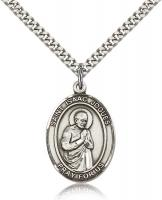 "Sterling Silver St. Isaac Jogues Pendant, Stainless Silver Heavy Curb Chain, Large Size Catholic Medal, 1"" x 3/4"""
