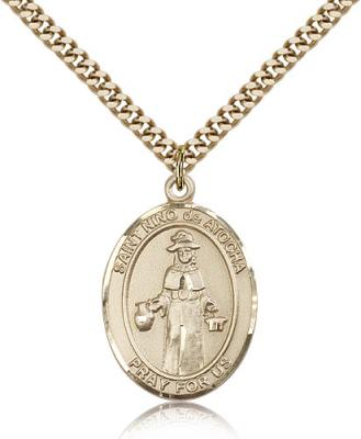 "Gold Filled El Nino De Atocha Pendant, Stainless Gold Heavy Curb Chain, Large Size Catholic Medal, 1"" x 3/4"""