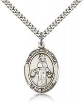 "Sterling Silver El Nino De Atocha Pendant, Stainless Silver Heavy Curb Chain, Large Size Catholic Medal, 1"" x 3/4"""