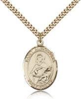 "Gold Filled St. Alexandra Pendant, Stainless Gold Heavy Curb Chain, Large Size Catholic Medal, 1"" x 3/4"""