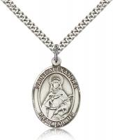 "Sterling Silver St. Alexandra Pendant, Stainless Silver Heavy Curb Chain, Large Size Catholic Medal, 1"" x 3/4"""