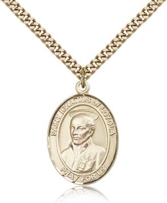 "Gold Filled St. Ignatius of Loyola Pendant, Stainless Gold Heavy Curb Chain, Large Size Catholic Medal, 1"" x 3/4"""
