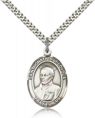 "Sterling Silver St. Ignatius of Loyola Pendant, Stainless Silver Heavy Curb Chain, Large Size Catholic Medal, 1"" x 3/4"""