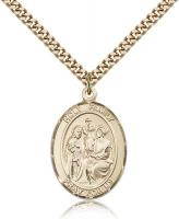 "Gold Filled Holy Family Pendant, Stainless Gold Heavy Curb Chain, Large Size Catholic Medal, 1"" x 3/4"""