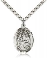 "Sterling Silver Holy Family Pendant, Stainless Silver Heavy Curb Chain, Large Size Catholic Medal, 1"" x 3/4"""