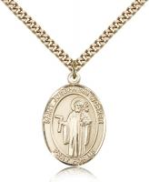 "Gold Filled St. Joseph The Worker Pendant, Stainless Gold Heavy Curb Chain, Large Size Catholic Medal, 1"" x 3/4"""