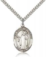"Sterling Silver St. Joseph The Worker Pendant, Stainless Silver Heavy Curb Chain, Large Size Catholic Medal, 1"" x 3/4"""