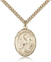 "Gold Filled St. Alphonsus Pendant, Stainless Gold Heavy Curb Chain, Large Size Catholic Medal, 1"" x 3/4"""