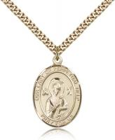 "Gold Filled Our Lady of Perpetual Help Pendant, Stainless Gold Heavy Curb Chain, Large Size Catholic Medal, 1"" x 3/4"""