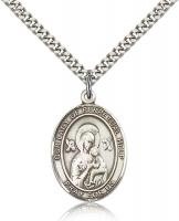 "Sterling Silver Our Lady of Perpetual Help Pendant, Stainless Silver Heavy Curb Chain, Large Size Catholic Medal, 1"" x 3/4"""