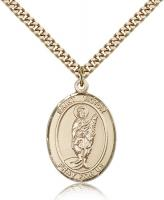 "Gold Filled St. Victor of Marseilles Pendant, Stainless Gold Heavy Curb Chain, Large Size Catholic Medal, 1"" x 3/4"""