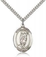 "Sterling Silver St. Victor of Marseilles Pendant, Stainless Silver Heavy Curb Chain, Large Size Catholic Medal, 1"" x 3/4"""