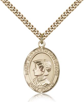 "Gold Filled St. Elizabeth Ann Seton Pendant, Stainless Gold Heavy Curb Chain, Large Size Catholic Medal, 1"" x 3/4"""
