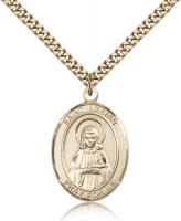 "Gold Filled St. Lillian Pendant, Stainless Gold Heavy Curb Chain, Large Size Catholic Medal, 1"" x 3/4"""