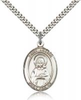 "Sterling Silver St. Lillian Pendant, Stainless Silver Heavy Curb Chain, Large Size Catholic Medal, 1"" x 3/4"""