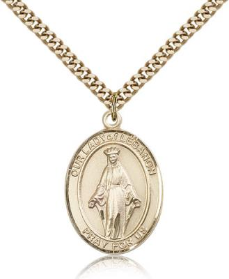 "Gold Filled Our Lady of Lebanon Pendant, Stainless Gold Heavy Curb Chain, Large Size Catholic Medal, 1"" x 3/4"""