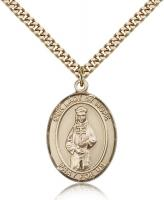 "Gold Filled Our Lady of Hope Pendant, Stainless Gold Heavy Curb Chain, Large Size Catholic Medal, 1"" x 3/4"""