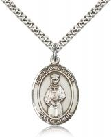 "Sterling Silver Our Lady of Hope Pendant, Stainless Silver Heavy Curb Chain, Large Size Catholic Medal, 1"" x 3/4"""