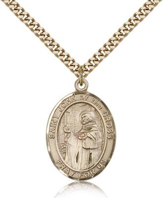 "Gold Filled St. John of the Cross Pendant, Stainless Gold Heavy Curb Chain, Large Size Catholic Medal, 1"" x 3/4"""