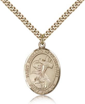 "Gold Filled St. Bernard of Clairvaux Pendant, Stainless Gold Heavy Curb Chain, Large Size Catholic Medal, 1"" x 3/4"""