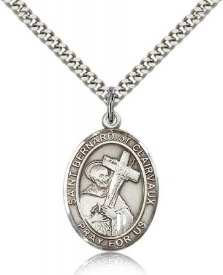 "Sterling Silver St. Bernard of Clairvaux Pendant, Stainless Silver Heavy Curb Chain, Large Size Catholic Medal, 1"" x 3/4"""