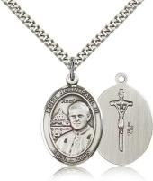 "Sterling Silver Pope John Paul II Pendant, Stainless Silver Heavy Curb Chain, Large Size Catholic Medal, 1"" x 3/4"""