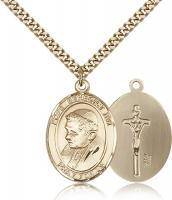 "Gold Filled Pope Benedict XVI Pendant, Stainless Gold Heavy Curb Chain, Large Size Catholic Medal, 1"" x 3/4"""