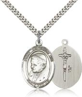"Sterling Silver Pope Benedict XVI Pendant, Stainless Silver Heavy Curb Chain, Large Size Catholic Medal, 1"" x 3/4"""