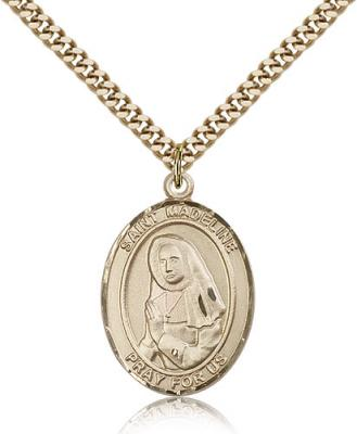 "Gold Filled St. Madeline Sophie Barat Pendant, Stainless Gold Heavy Curb Chain, Large Size Catholic Medal, 1"" x 3/4"""